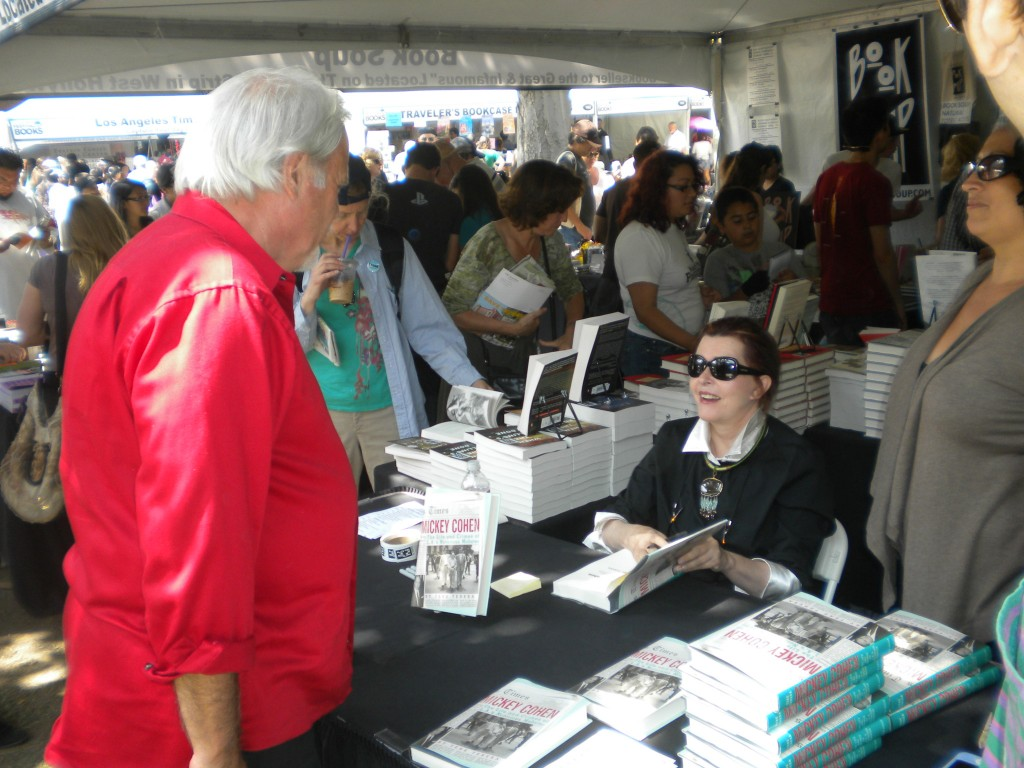 Tere Tereba signs her new book, Mickey Cohen: The Life and Crimes of L.A.'s Notorious Mobster.